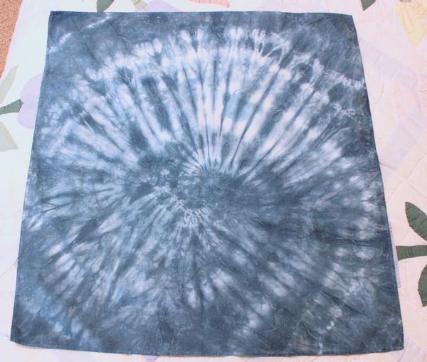 indigo bandana with spiral pattern