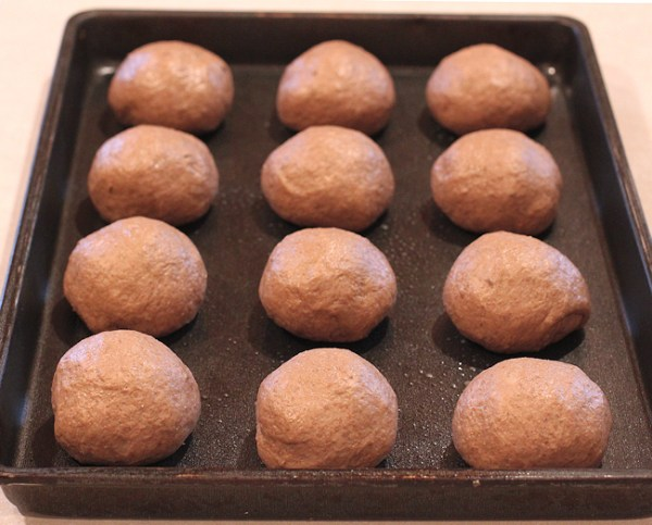 dough after shaping for rolls