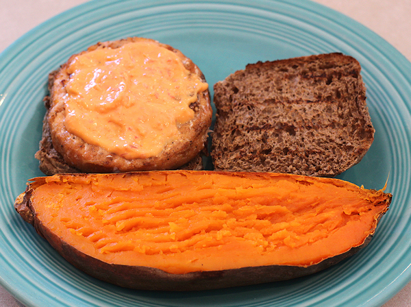 Beauregard sweet potato with aioli-topped salmon burger