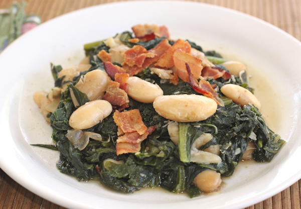 Runner Cannellini beans with kale