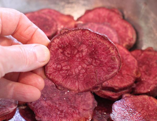 Purple sweet potato slice before cooking