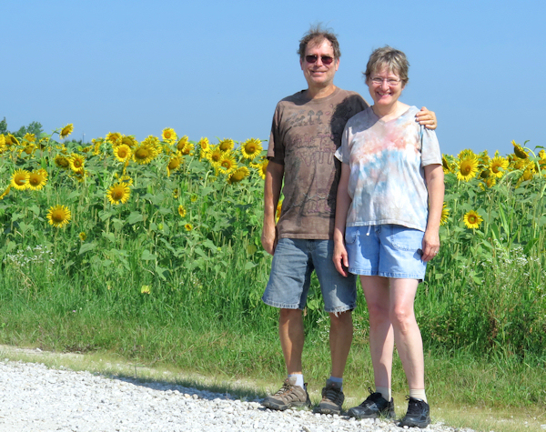 me and Lynda and acres of sunflowers