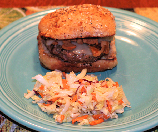 slaw with burger