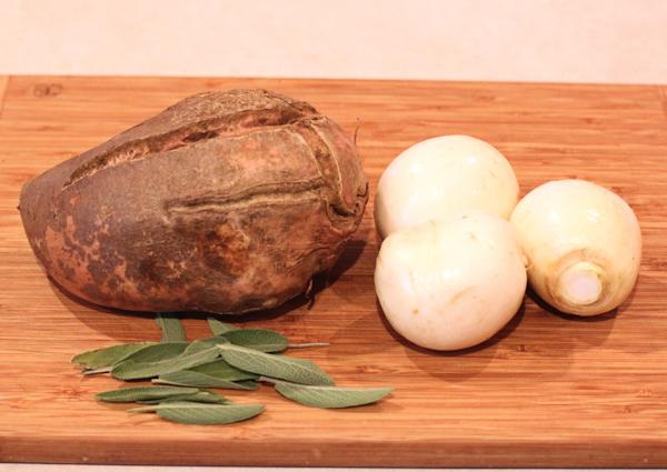 sweet potato, turnips and sage