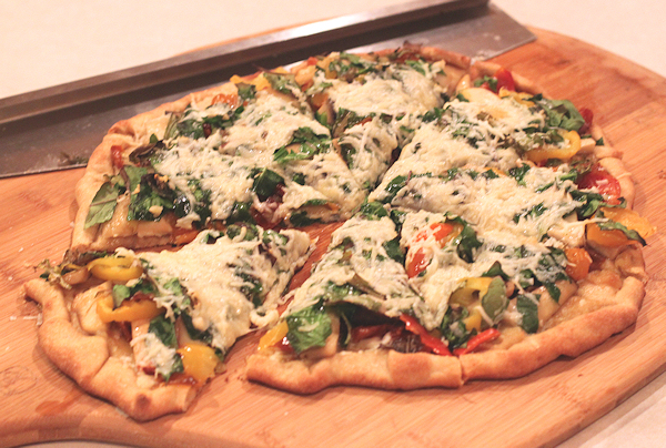pizza on homemade White Sonora crust