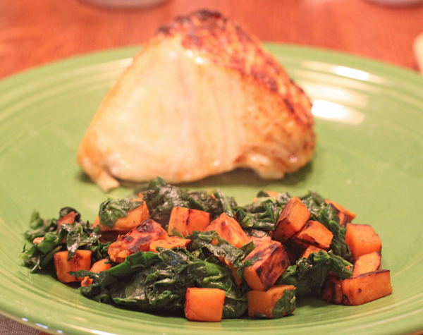 sweet potato and spinach hash with fish