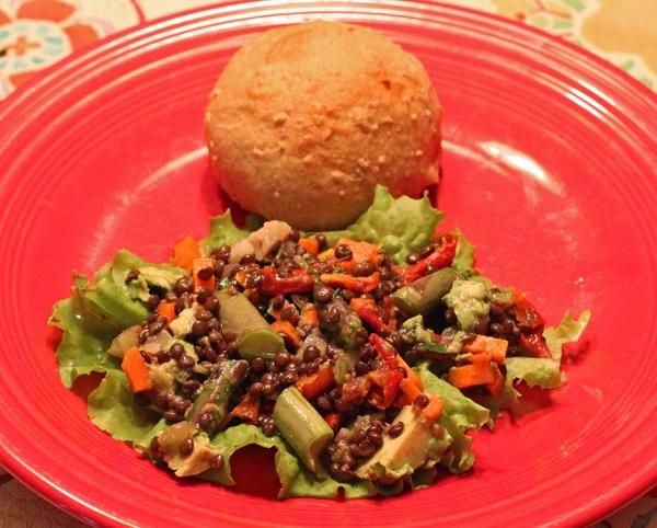 black lentil salad with fresh asparagus