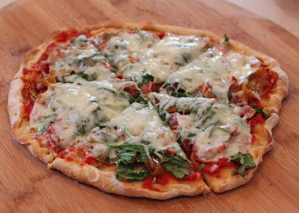 pizza with homegrown veggies