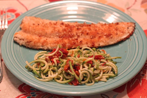 zucchini zoodle salad with trout
