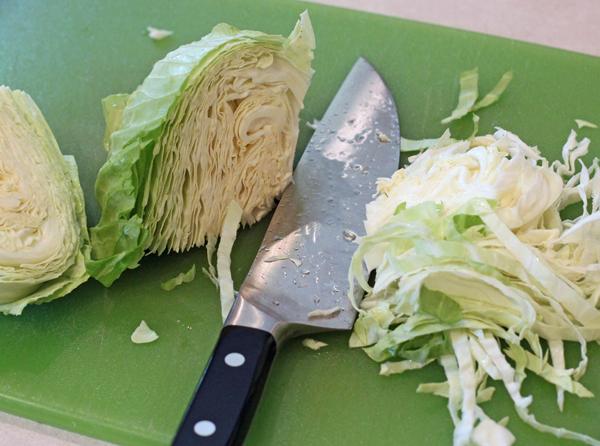cutting up cabbage for sauerkraut