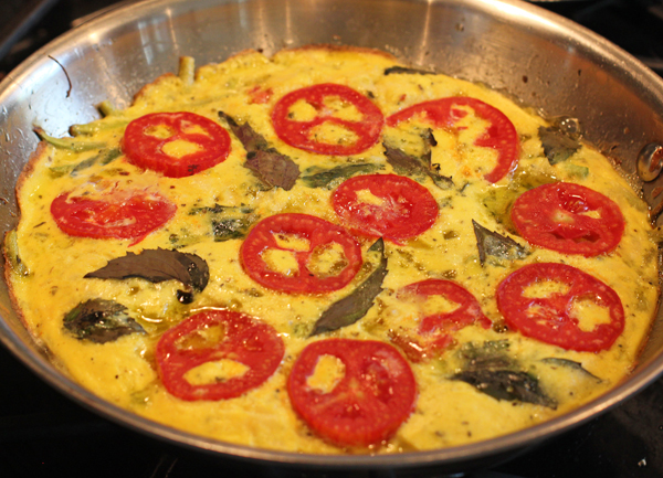 frittata with Tromboncino, basil and tomatoes