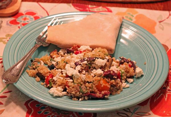 quinoa salad with lavash
