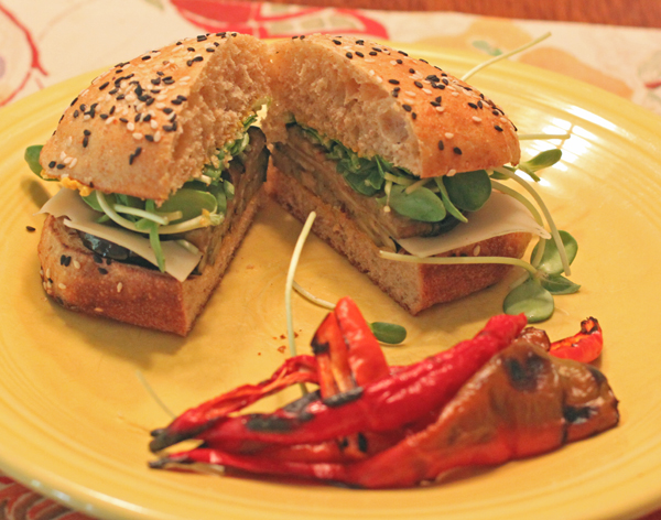 eggplant sandwich with Jimmy Nardello peppers