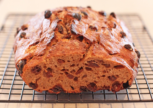 crumb shot of Sourdough Cinnamon Raisin Bread