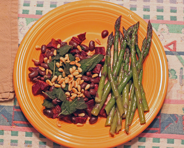 asparagus with Rio Zape Bean and Sweet Potato Salad