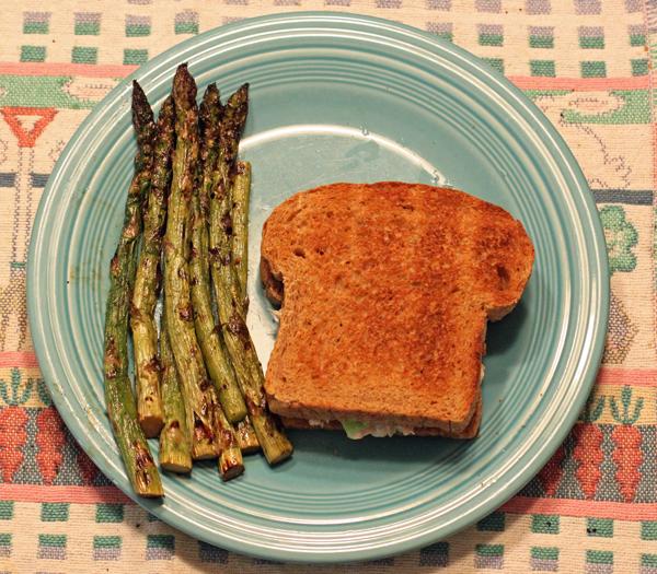 grilled asparagus with tuna salad sandwich