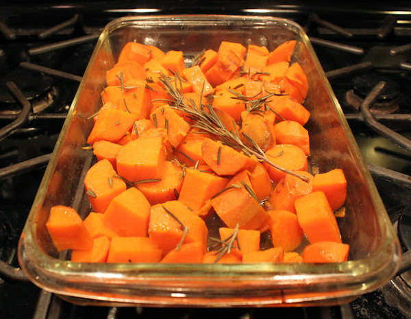roasted Beauregard sweet potatoes with rosemary