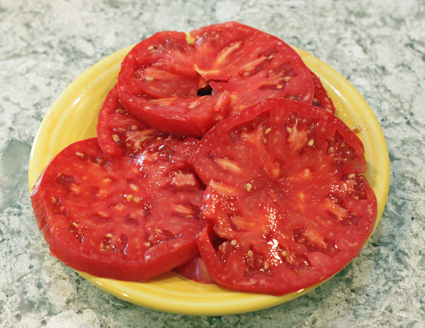 slices of Brandymaster Pink tomato