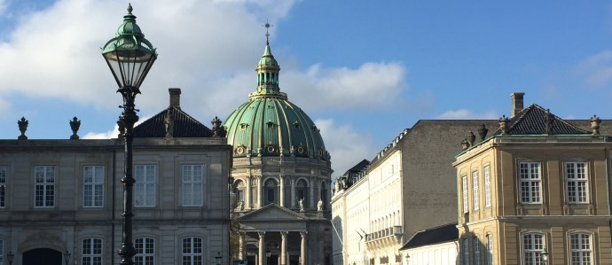 Amalienborg Castle and the Marble Church (Frederik's Church) dome, Copenhagen