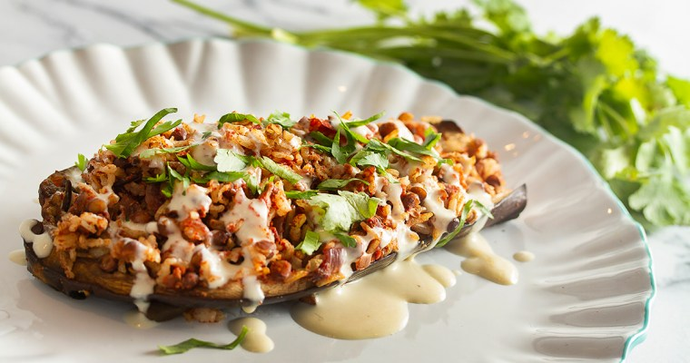 Stuffed Eggplant and Tahini Sauce