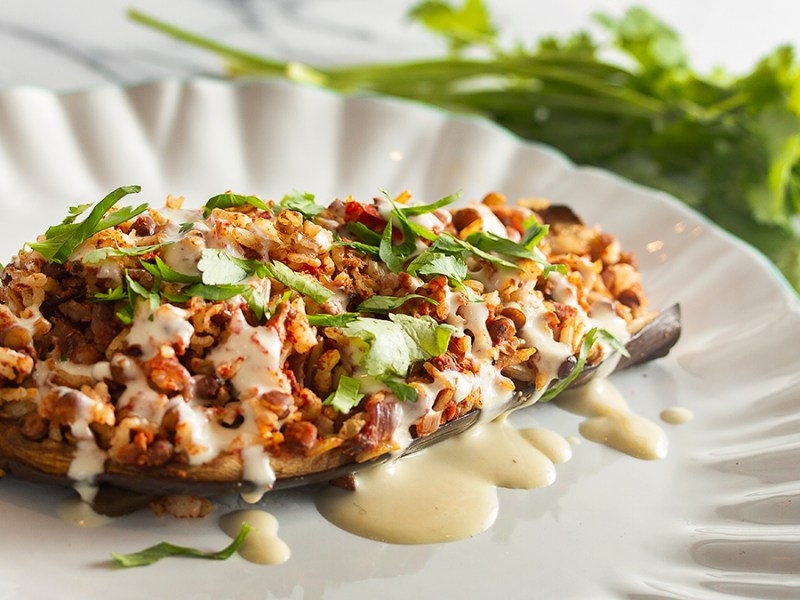 Lentil & Rice Stuffed Eggplant