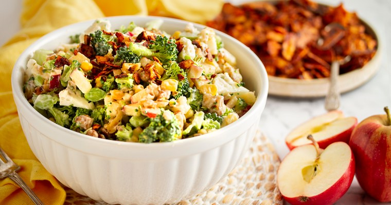 "Apple Broccoli Salad with Creamy ""Honey"" Dressing"