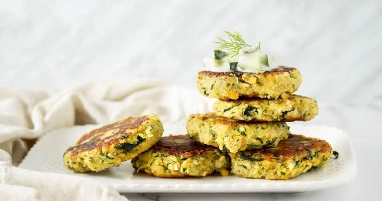Vegan Zucchini Fritters with Cucumber Raita