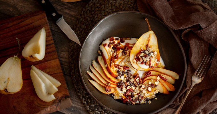 Vegan Breakfast Bowl with yogurt and pear