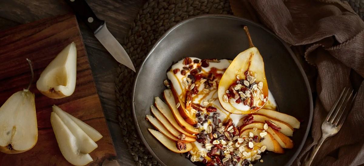 "Yogurt & Pear Breakfast Bowl & ""Honey"" Drizzle"
