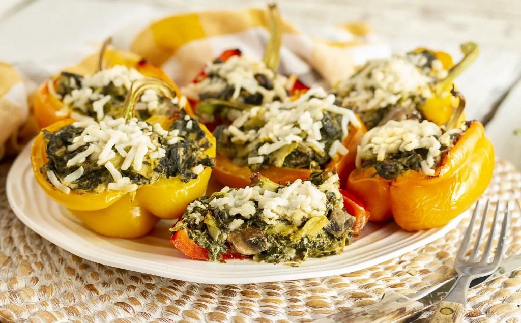 """Cheesy"" Spinach & Artichoke Stuffed Peppers"