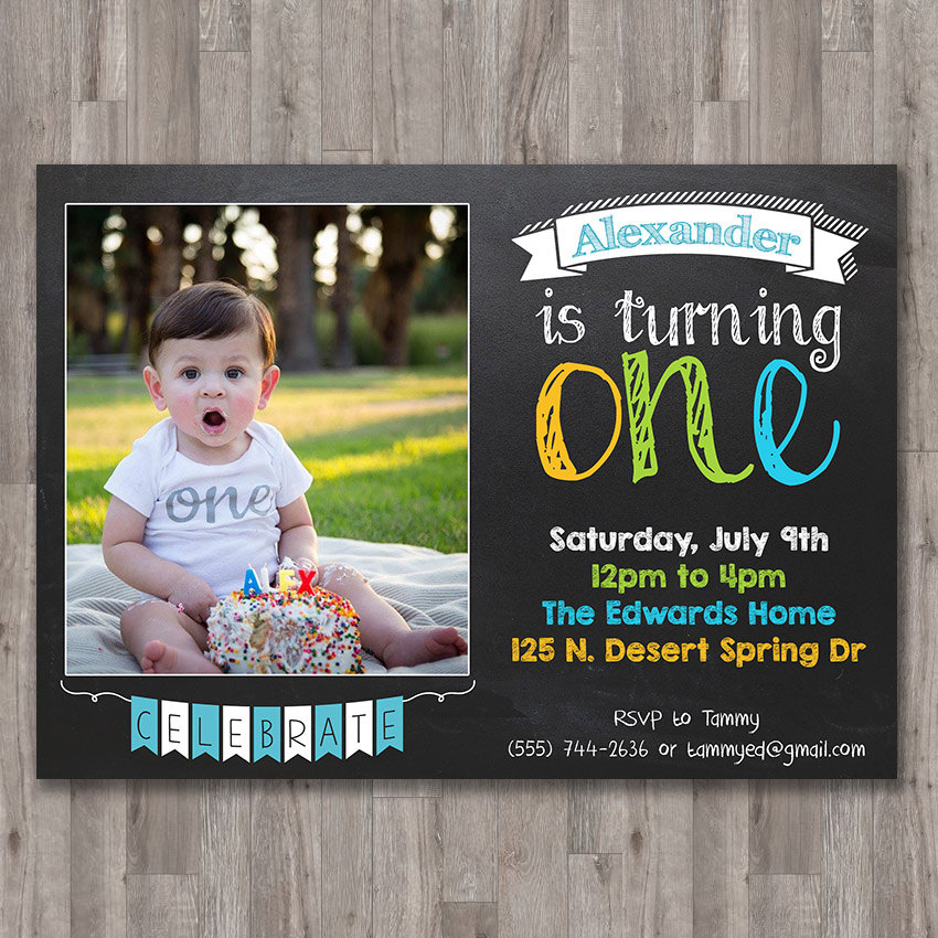 Boy first 1st birthday invite printable invitation custom photo boy first 1st birthday invite printable invitation custom photo invite chalk chalkboard turning one personalized bday filmwisefo