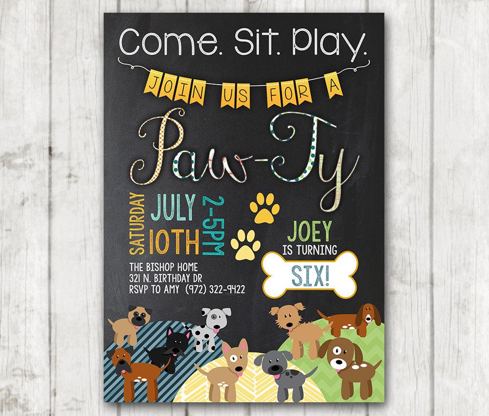 Boy Puppy Birthday Invitations Printable Dog Invitations Custom ...