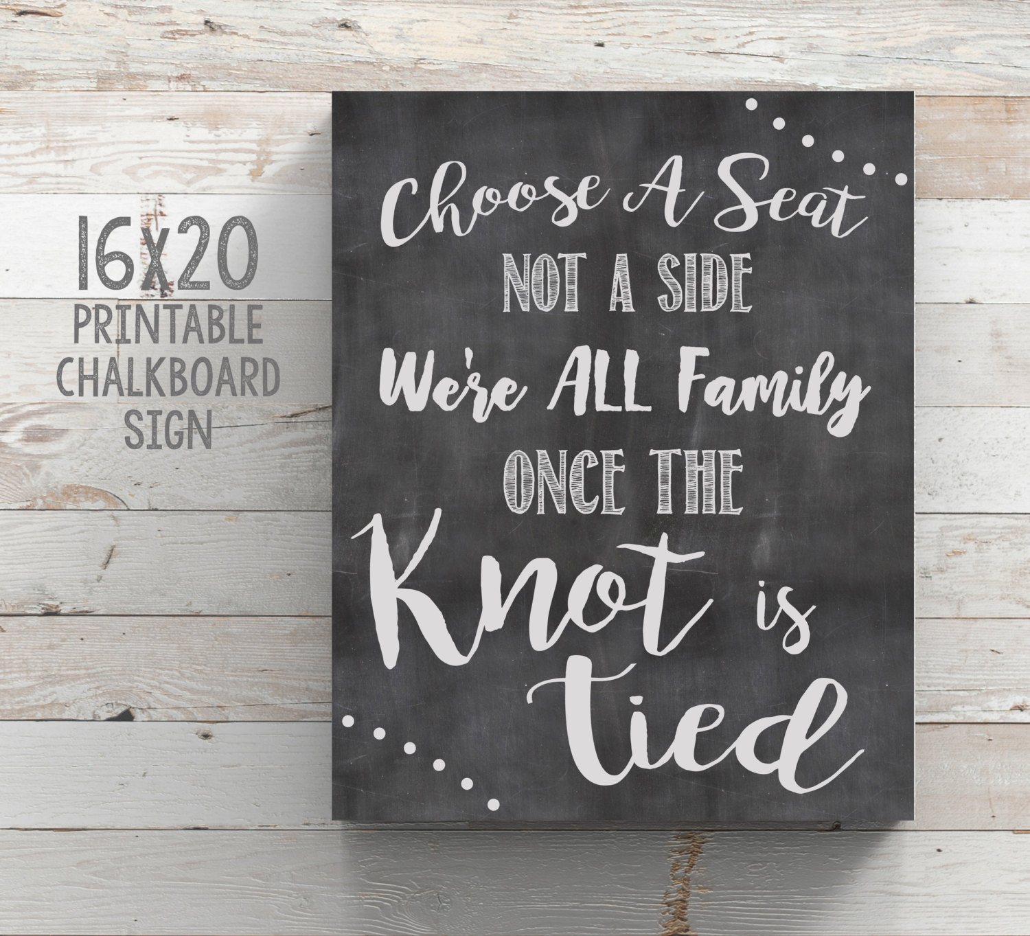 Choose a Seat Not a Side Printable Sign Wedding Seating Sign – Happy ...