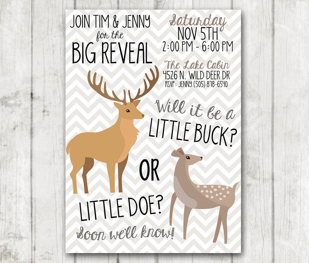 Gender Reveal Invitation Printable Buck or Doe Gender Reveal Party