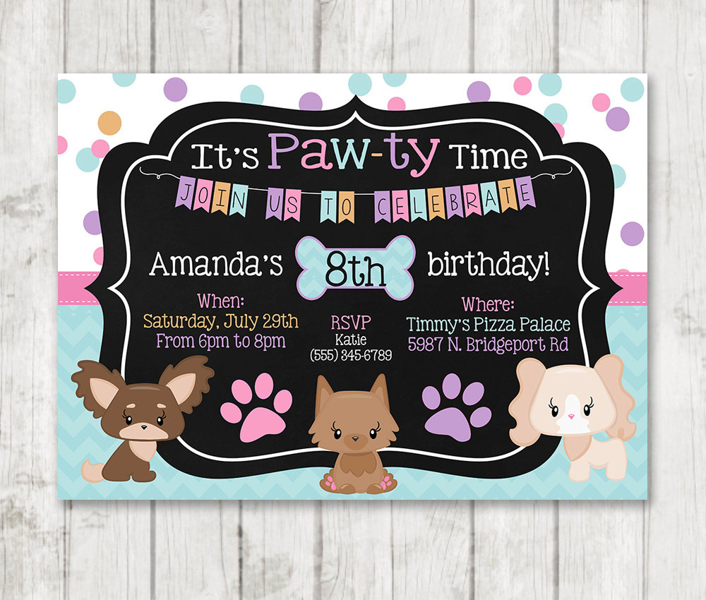 Printable puppy birthday invitations pawty invitations happy barn girl puppy birthday invitations printable dog invitations custom personalized bday invite chalk girly puppy party doggie filmwisefo Image collections