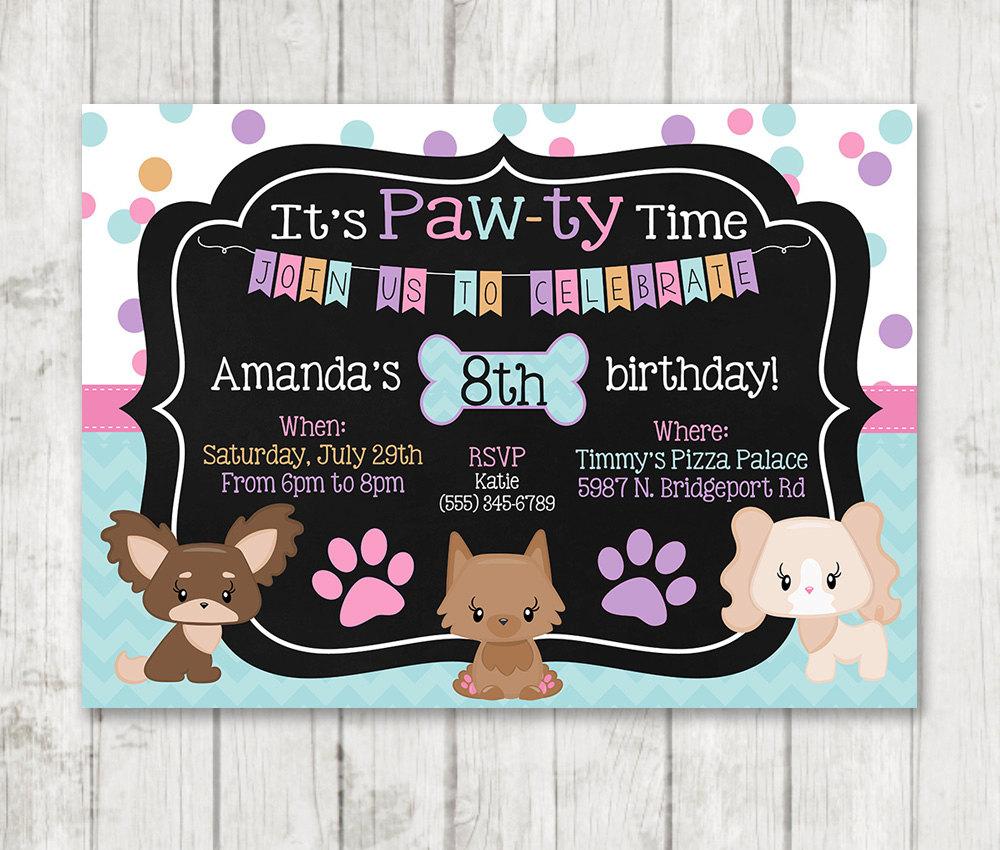 Printable Puppy Birthday Invitations - Pawty Invitations – Happy Barn