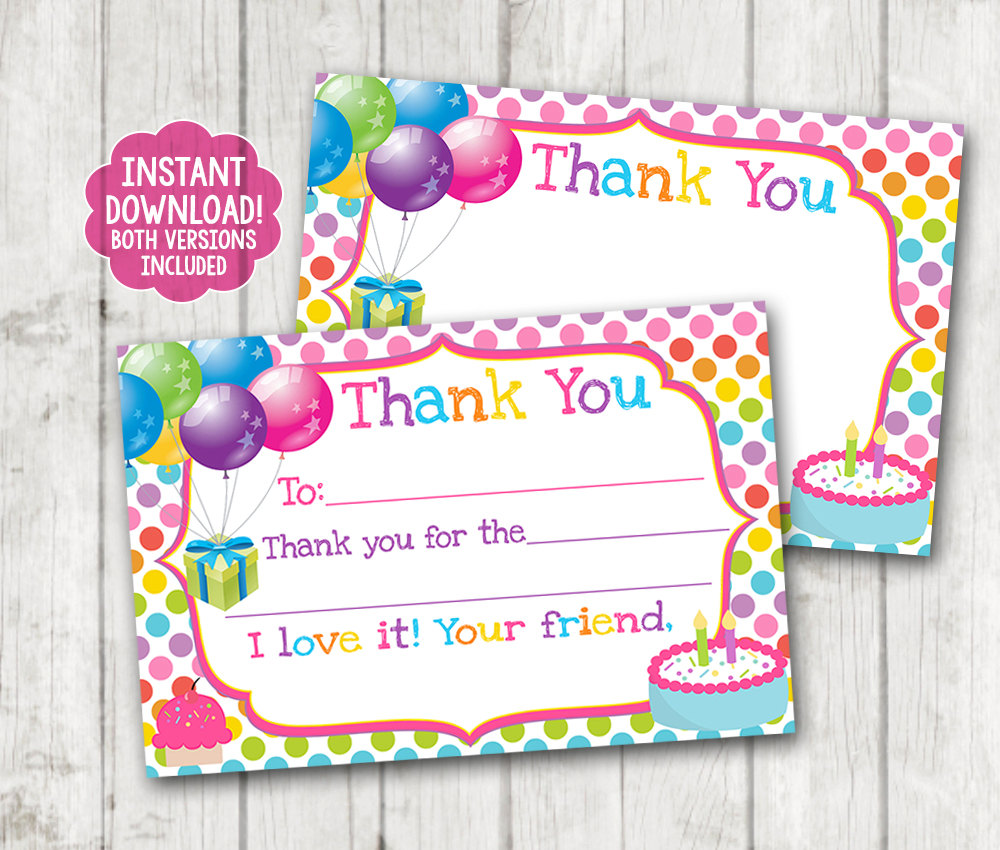 Instant Download Printable Birthday Thank You Cards Balloons Thank