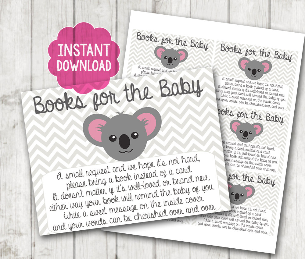 Instant Download Printable Koala Baby Shower Bring A Book Instead Of A Card  Invitation Inserts Chevron