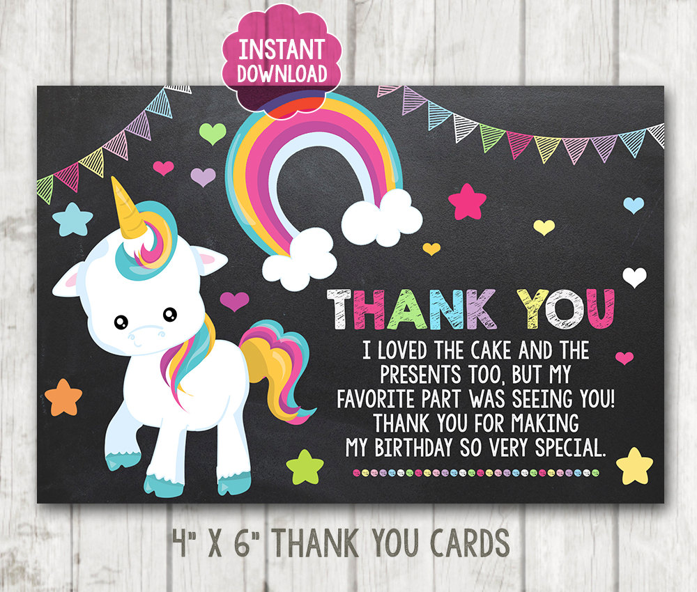 instant download printable chalkboard unicorn thank you cards
