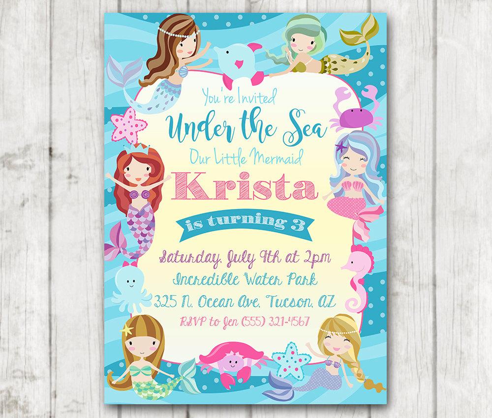 under the sea mermaid birthday invitation