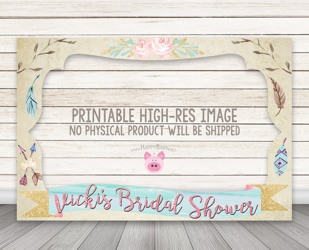 PRINTABLE Boho Chic Photo Booth Frame, Bridal Shower Photo Booth ...