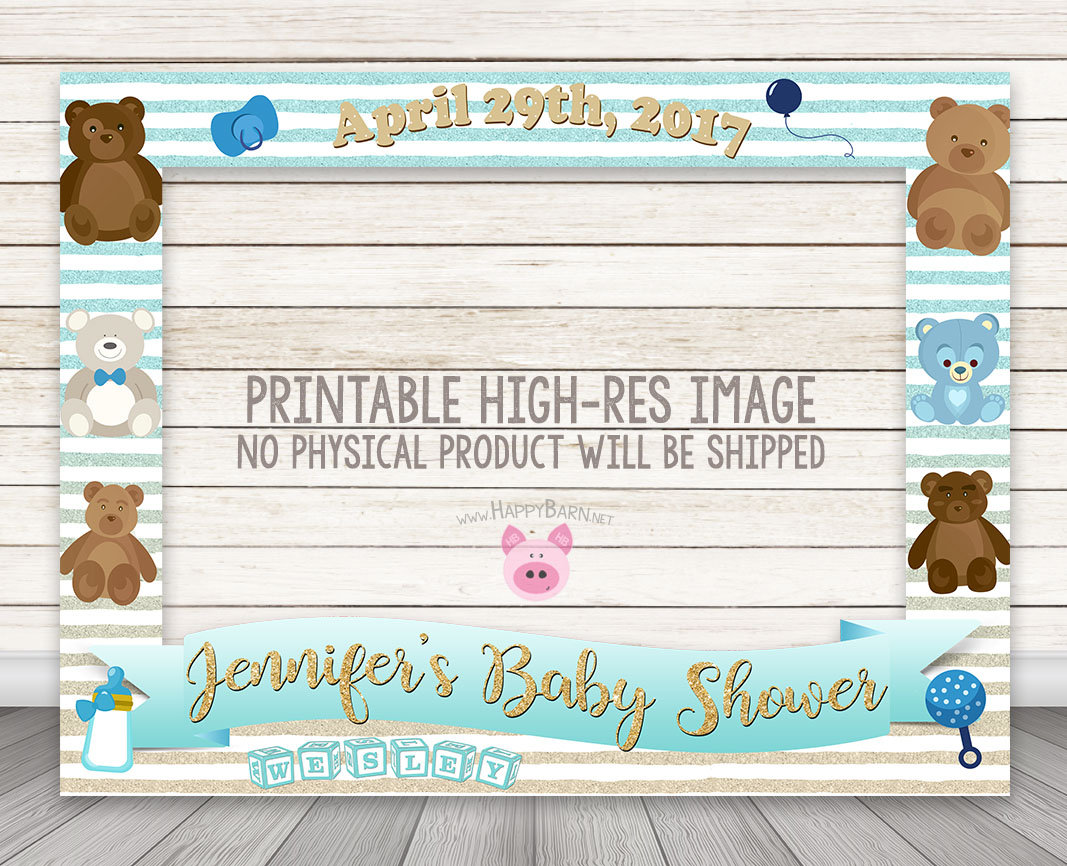 PRINTABLE Boy Baby Shower Photo Booth Frame, Teddy Bear Photo Booth Frame