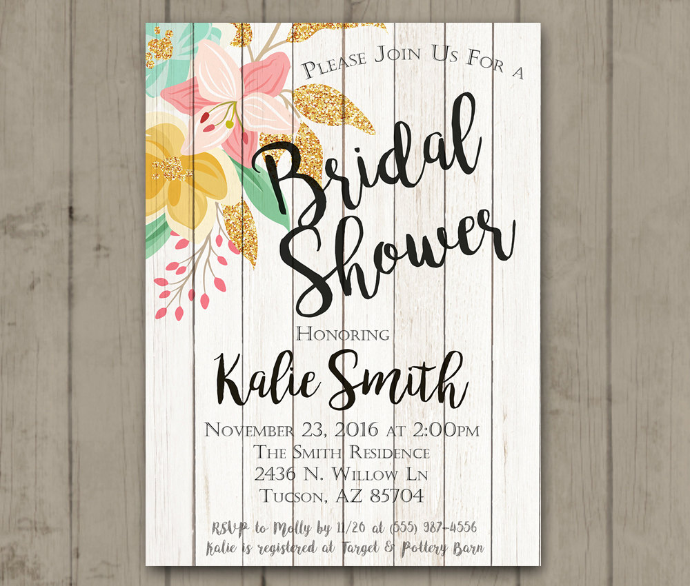 Printable Bridal Shower Invitation - Wood Floral Bride-To-Be Glitter ...
