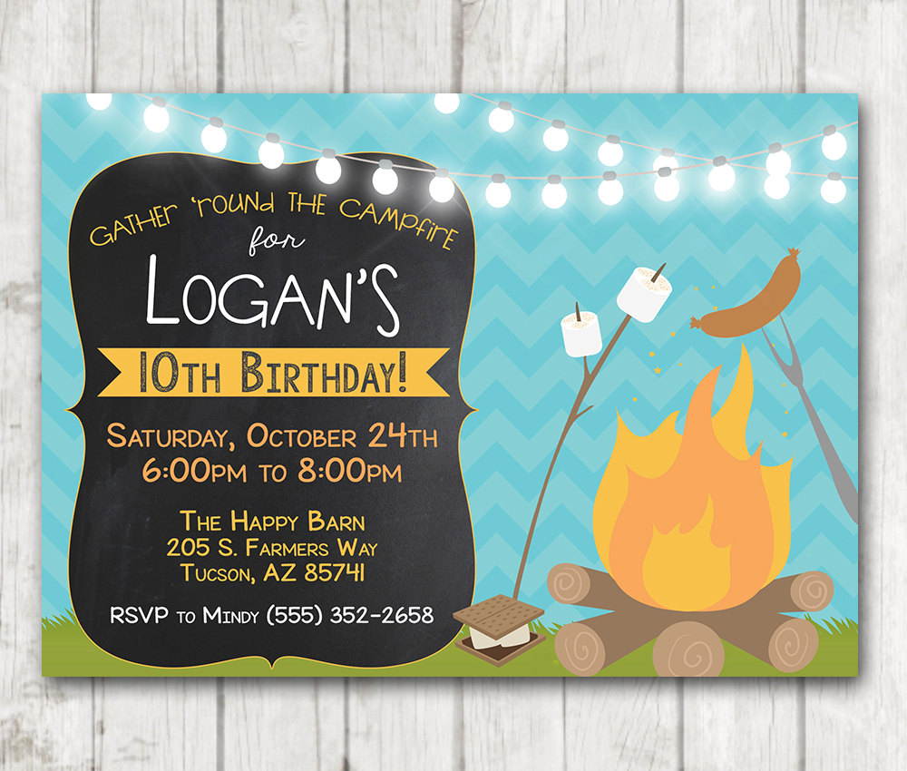 Printable campfire invitation camping birthday invitation happy barn printable campfire invitation camping birthday invitation filmwisefo
