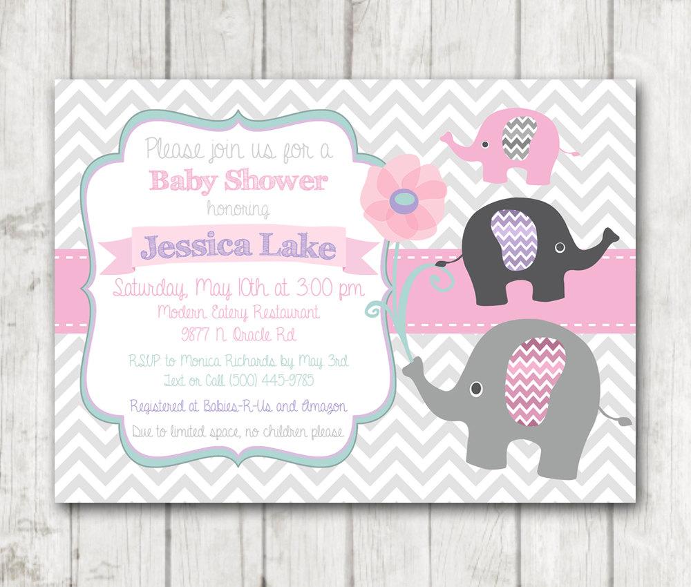 Printable Elephant Girl Baby Shower Invitation - Chevron Pink Sage ...