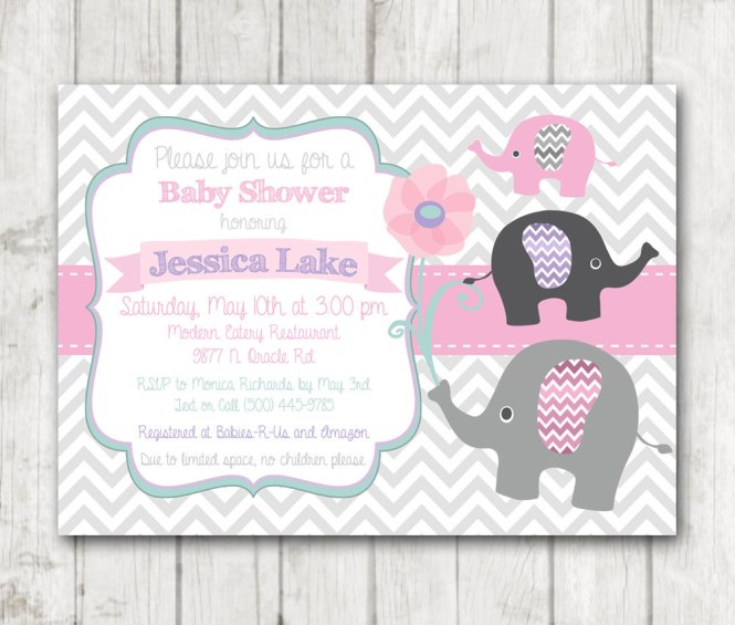 Printable Elephant Baby Shower Invitation Chevron Pink Sage Mint Green White Purple Grey Gray Invite