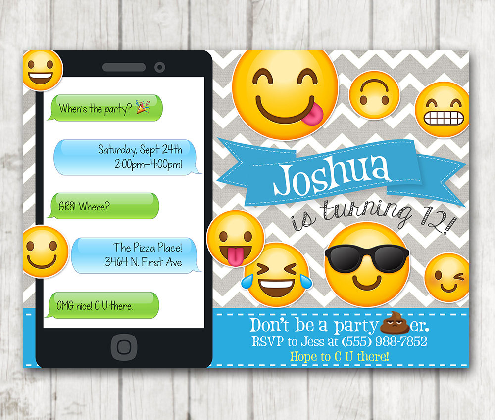printable emoji birthday party invitation boy emoji invitations