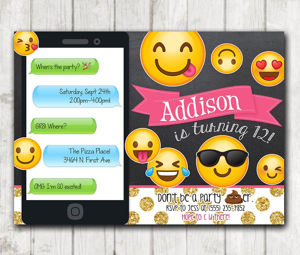 printable emoji birthday party invitation chalkboard emoji invitations