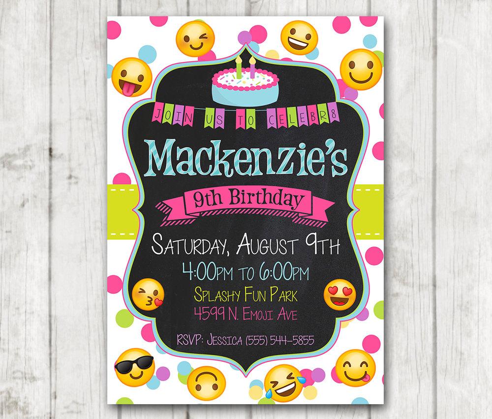printable chalkboard emoji birthday party invitation