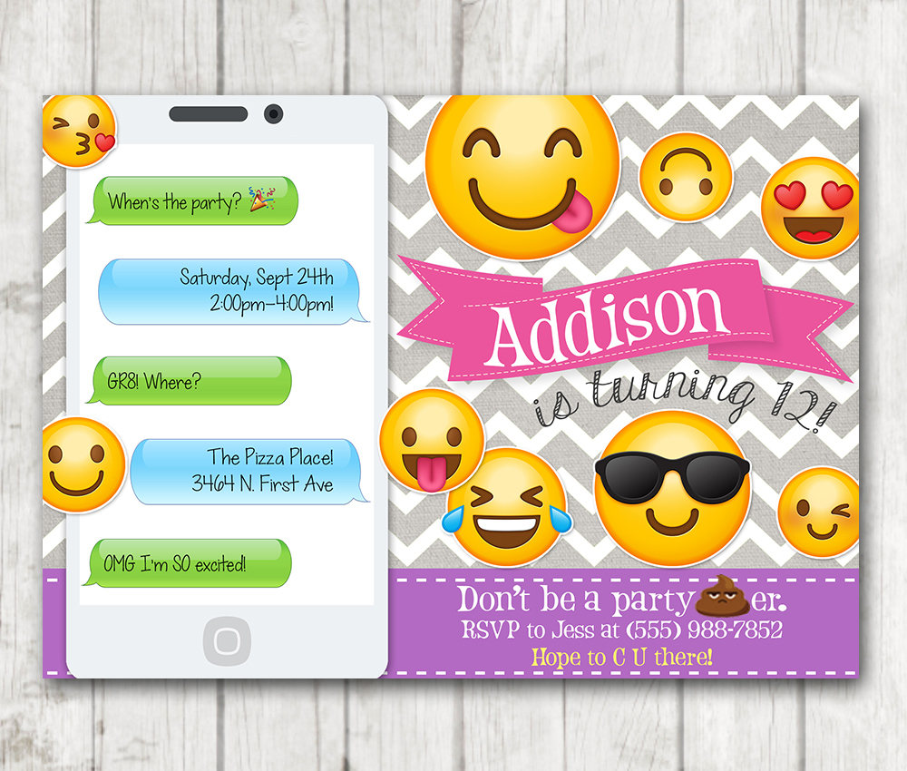 Printable Emoji Birthday Party Invitation, Emoji invitations – Happy ...